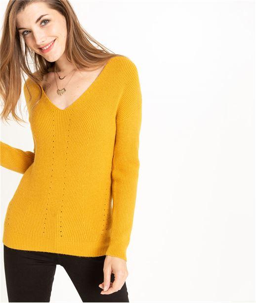Pull femme en tricot décolleté V SAFRAN