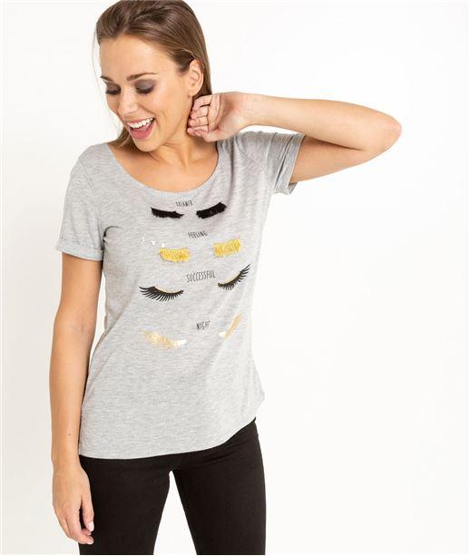 T-shirt femme manches courtes avec cils GRIS