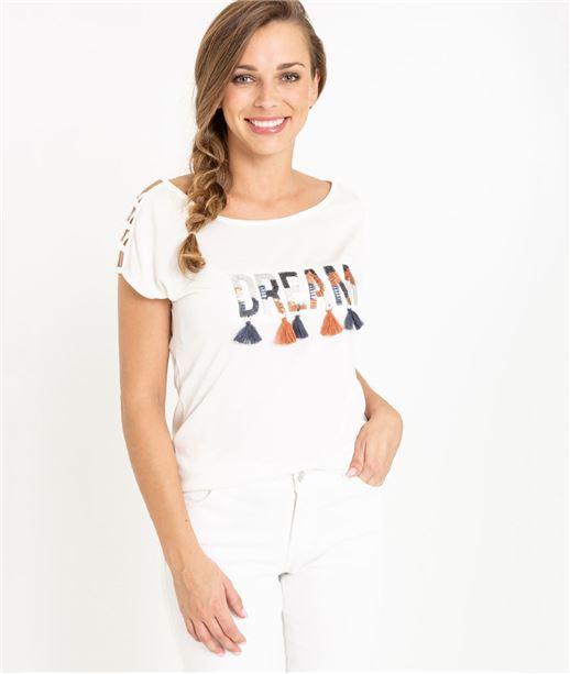 T-shirt femme message et pompons BLANC CASSE