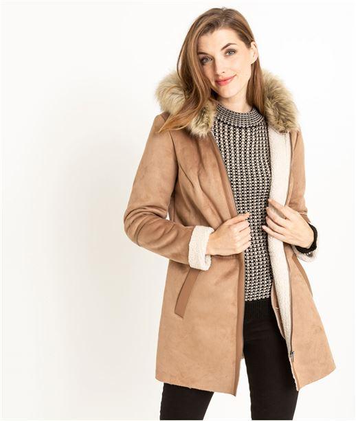 Manteau femme bi-matière BEIGE