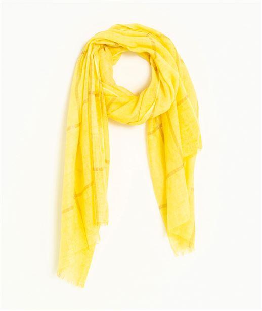 Foulard femme jaune avec carreaux JAUNE