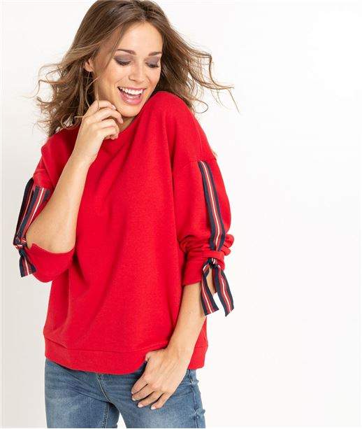 Sweat femme manches 3/4 ROUGE