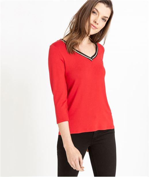 T-shirt femme manche 3/4 uni FUCHSIA