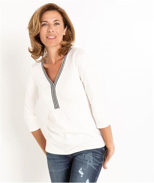 T-shirt femme blanc manches 3/4 ECRU