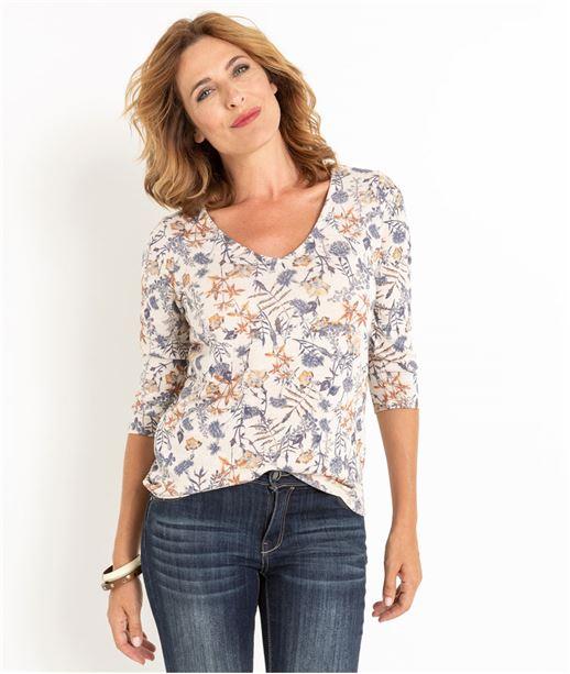 T-shirt femme imprimé et ouverture dos BEIGE