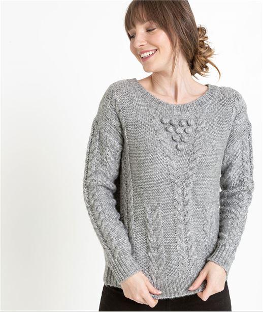 Pull femme en tricot gris GRIS
