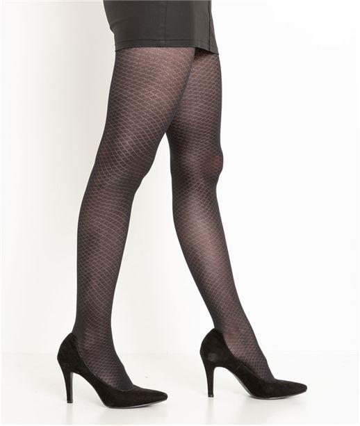 Collant noir femme motif losanges NOIR