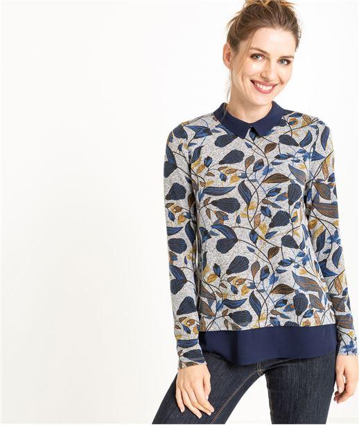 Pull femme 2 en 1 gris à motifs colorés GRIS