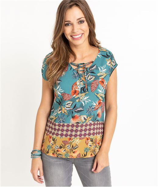 T-shirt femme imprimés fleuris VERT