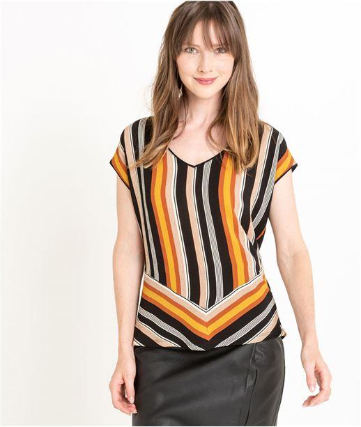 T-shirt femme bimatière à rayures NOIR