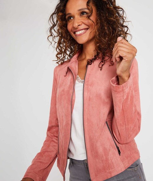 Veste imitation cuir femme rose