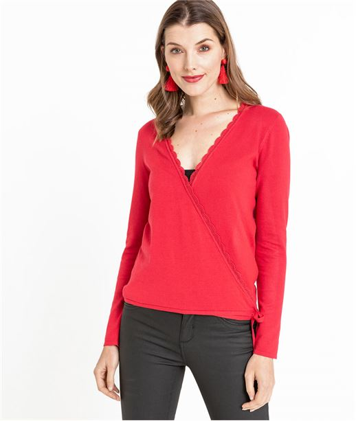 Gilet femme cache-coeur rouge ROUGE