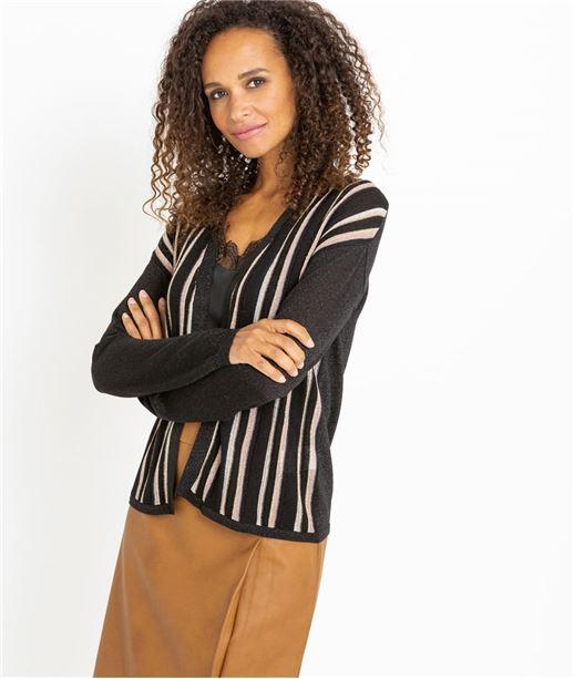 Gilet femme noir à rayures NOIR