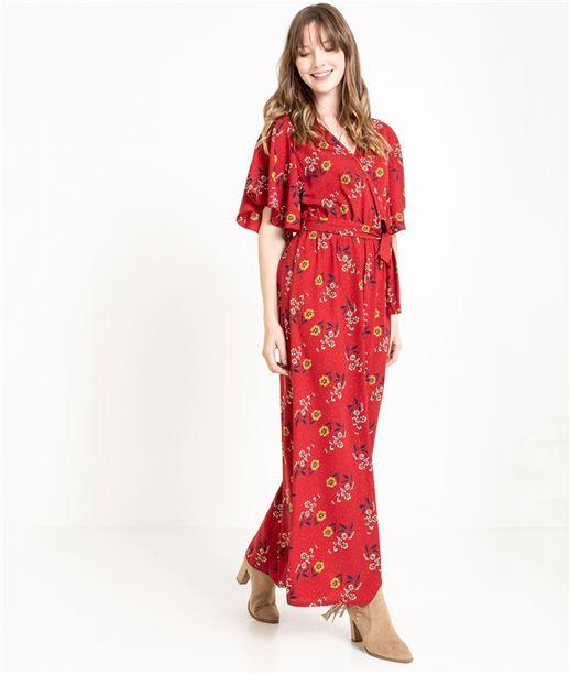 Robe femme longue fleurie ROUILLE