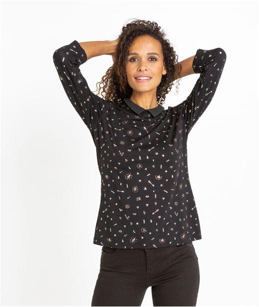 T-shirt femme imprimé manches 3/4 NOIR