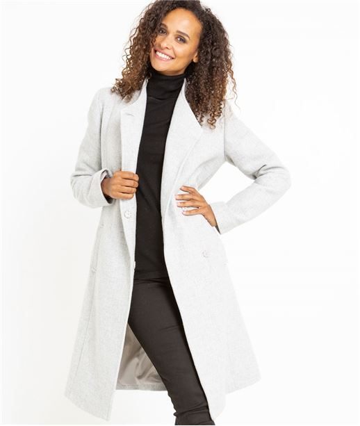 Manteau femme long gris clair en lainage GRIS CLAIR