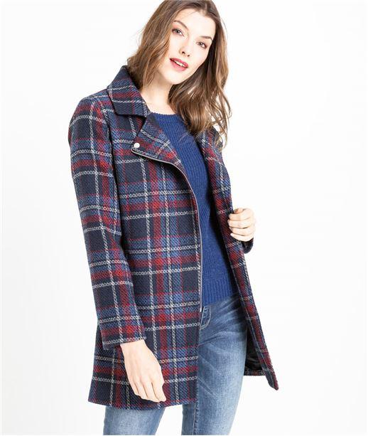 Manteau femme en lainage à carreaux BLEU