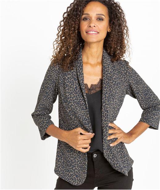 Veste de tailleur femme imprimé léopard GRIS