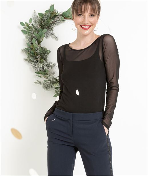 T-shirt femme en résille noir NOIR