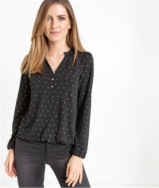 T-shirt femme manche longue fluide NOIR