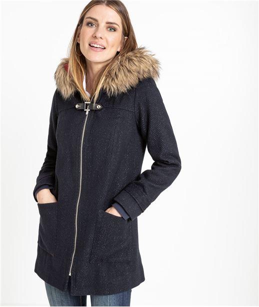 Manteau femme marine en lainage MARINE