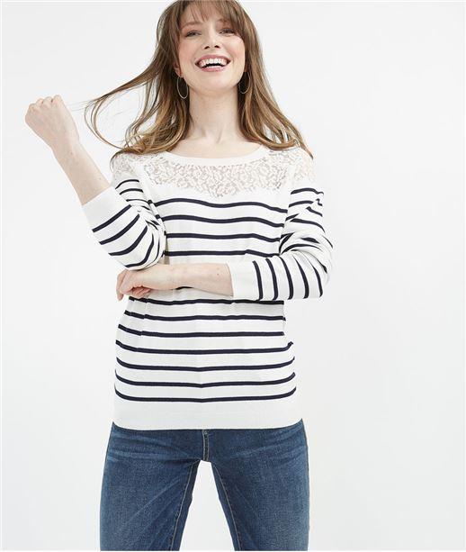 Pull marinière femme avec dentelle MARINE