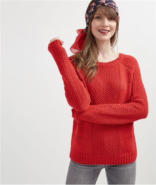 Pull en maille rouge ROUGE