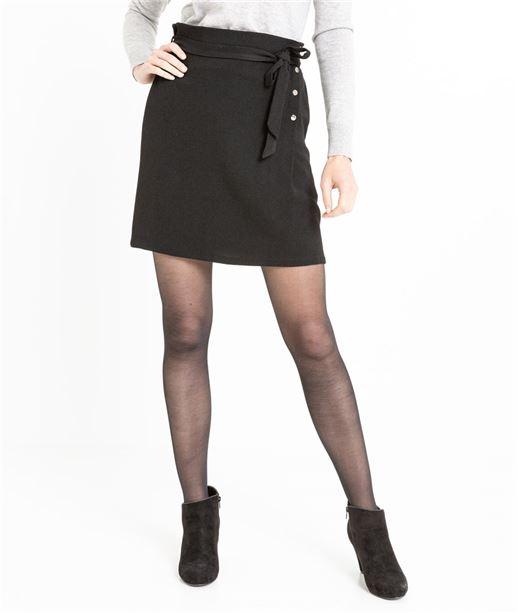 Jupe femme paperbag noire avec boutons NOIR