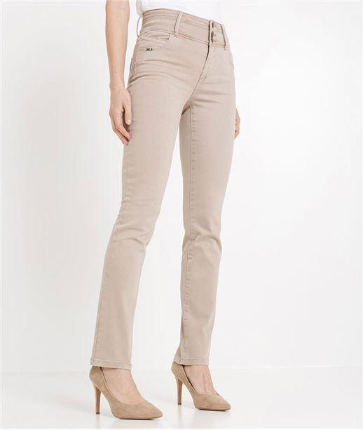 Pantalon droit taille haute de couleur BEIGE