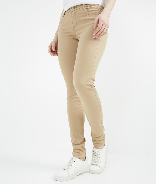Pantalon femme slim push up couleur CAMEL