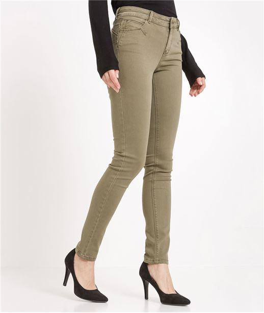 Pantalon femme slim push up couleur KAKI