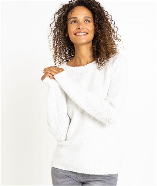 Pull femme blanc uni avec noeud BLANC
