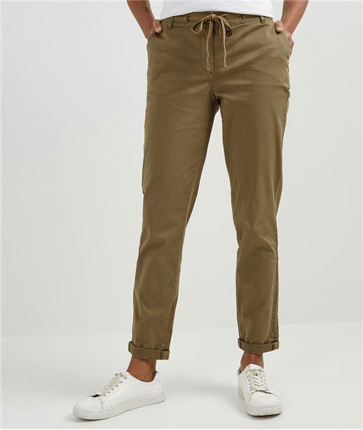 Pantalon femme chino avec ceinture KAKI