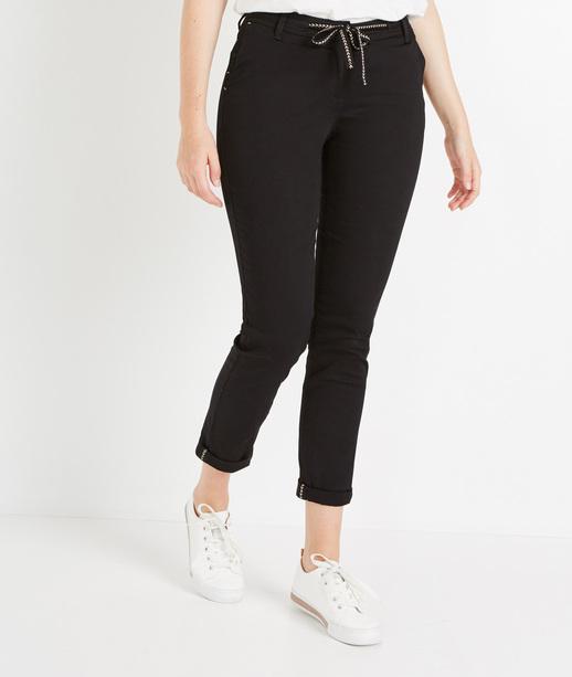 Pantalon femme chino avec ceinture NOIR