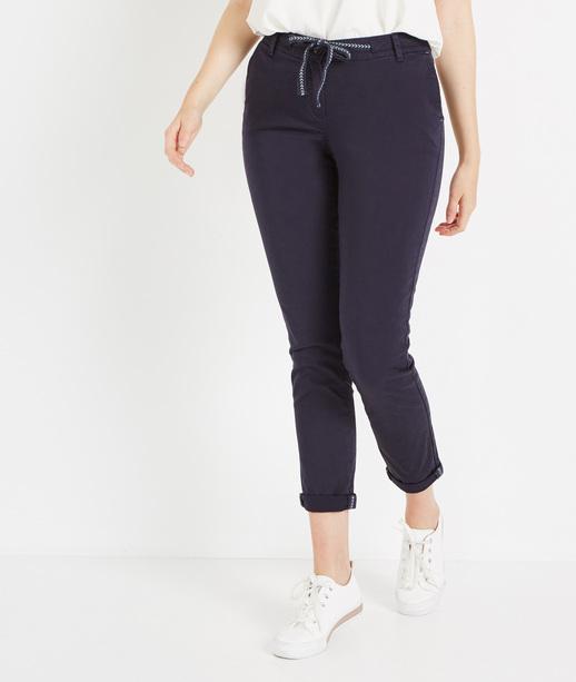 Pantalon chino avec ceinture MARINE