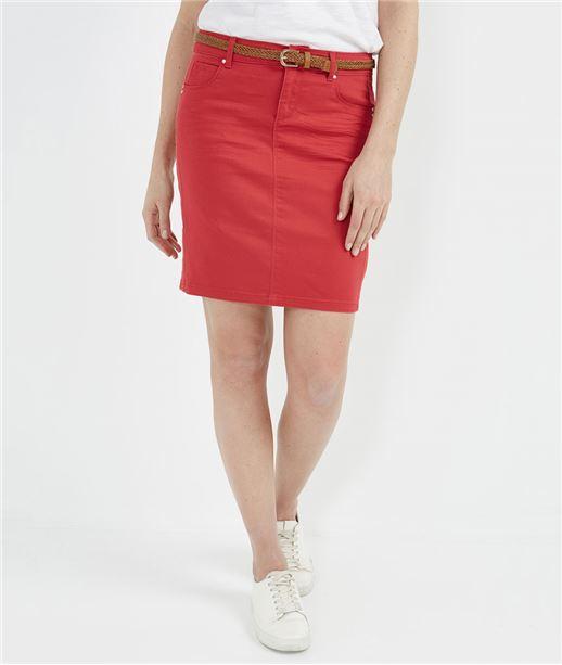 Jupe femme droite en jean de couleur ROUGE