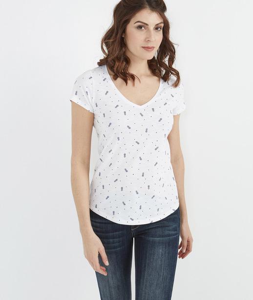 T-shirt basique avec imprimés BLANC