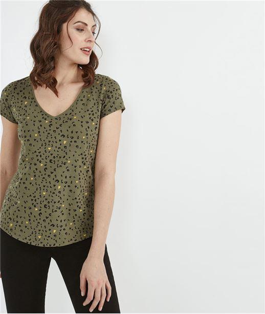 T-shirt femme basique avec imprimés KAKI