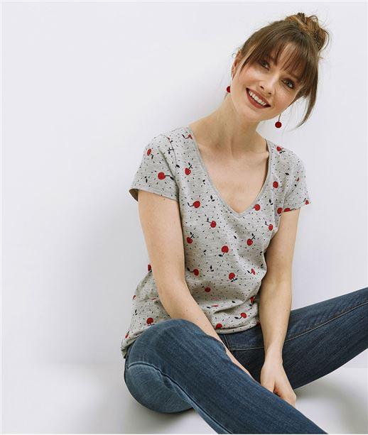 T-shirt femme basique avec imprimés GRIS