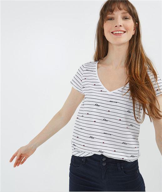 T-shirt femme rayé col V BLANC