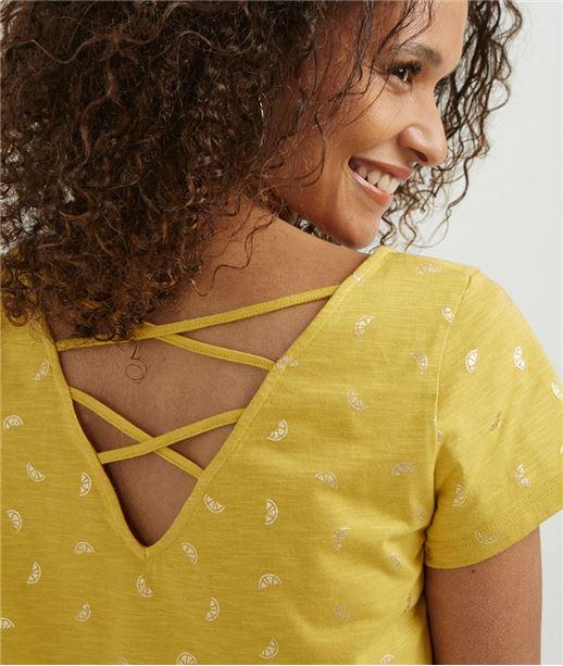 T-shirt femme imprimé décolleté dos SAFRAN