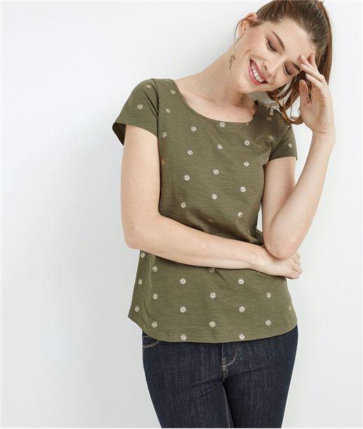 T-shirt femme imprimé décolleté dos KAKI