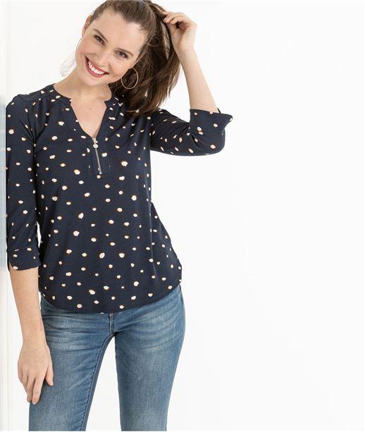 T-shirt femme manche 3/4 avec zip MARINE