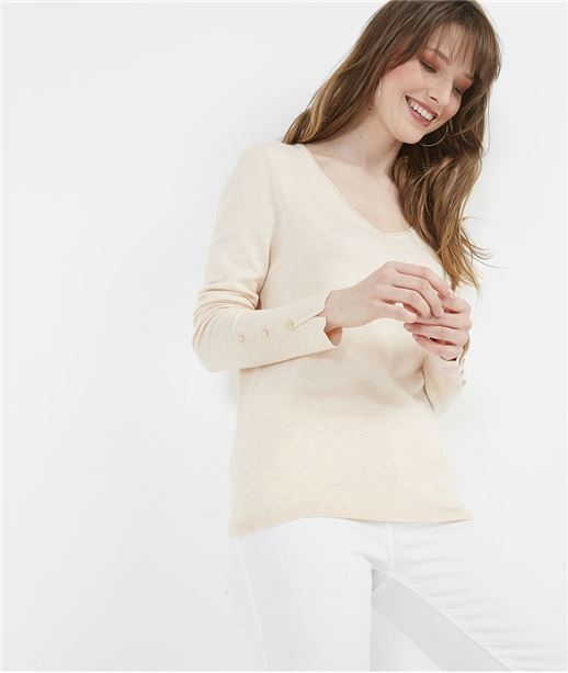 Pull femme basique avec boutons manches ROSE