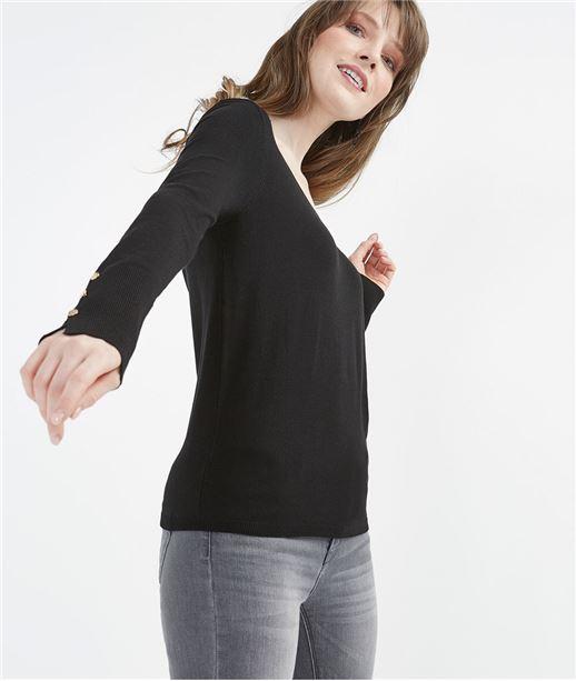 Pull femme basique avec boutons manches NOIR