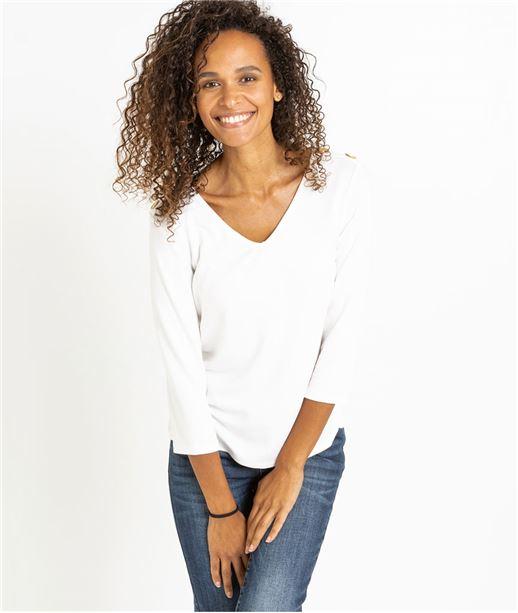 T-shirt femme manches 3/4 avec boutons ECRU