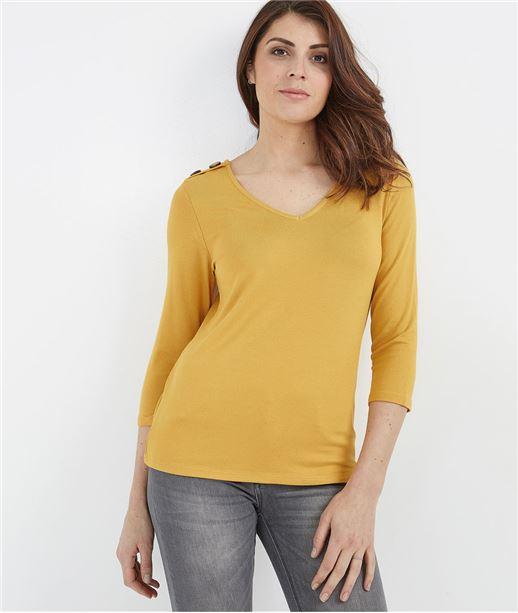 T-shirt femme manches 3/4 avec boutons SAFRAN