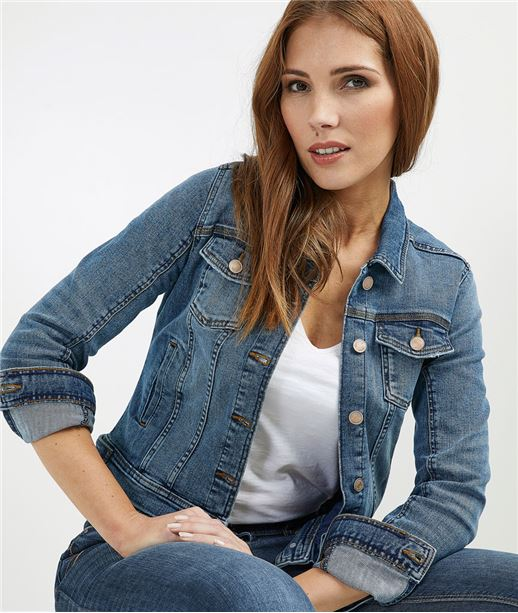 Veste en jean femme avec boutons DARK STONE