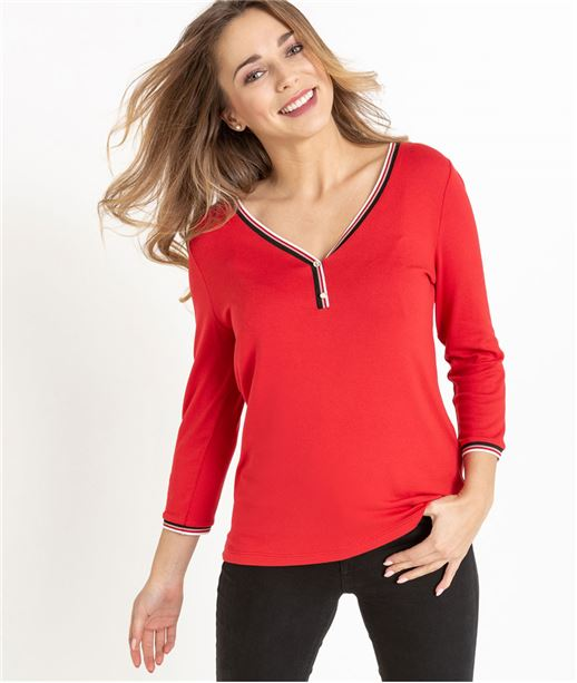 T-shirt femme manches 3/4 ROUGE