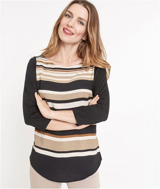 T-shirt femme à rayures NOIR